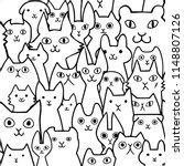 seamless doodle cats faces line ... | Shutterstock .eps vector #1148807126
