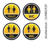 signs for restroom men women ... | Shutterstock .eps vector #114881929