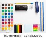 school supplies background... | Shutterstock . vector #1148822930