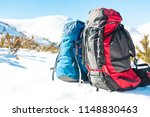 two backpacks in the background ... | Shutterstock . vector #1148830463