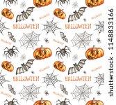 seamless pattern. halloween... | Shutterstock . vector #1148833166