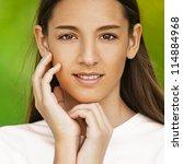 beautiful teenage girl  against ... | Shutterstock . vector #114884968
