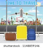 suitcase in airport with... | Shutterstock .eps vector #1148859146