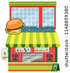 exterior of burger shop... | Shutterstock .eps vector #1148859380