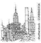 scene street illustration. hand ... | Shutterstock .eps vector #1148860316