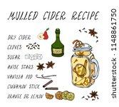 mulled cider recipe. hot cider...   Shutterstock .eps vector #1148861750