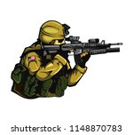 vector soldiers who are aiming | Shutterstock .eps vector #1148870783