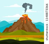 eruption of volcano background. ... | Shutterstock .eps vector #1148873366