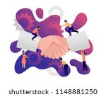 handshake with small cartoon... | Shutterstock .eps vector #1148881250