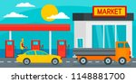 petrol station with market... | Shutterstock .eps vector #1148881700