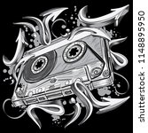 funky black and white audio... | Shutterstock .eps vector #1148895950