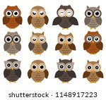 Stock vector owls icons bright owls with different emotions different characters of owls 1148917223