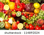 group of different fruit and... | Shutterstock . vector #114892024