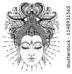 buddha face over ornate mandala ... | Shutterstock .eps vector #1148931563
