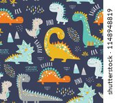 cute funny kids dinosaurs... | Shutterstock .eps vector #1148948819