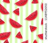 seamless pattern of watermelon...   Shutterstock . vector #1148952053