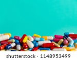 heap of colorful drugs and... | Shutterstock . vector #1148953499