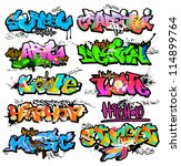 graffiti wall vector urban art | Shutterstock .eps vector #114899764
