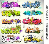 graffiti wall vector urban art | Shutterstock .eps vector #114900184