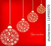golden christmas balls over red ... | Shutterstock .eps vector #114900370
