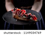 bruschetta with meat and olives | Shutterstock . vector #1149034769