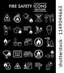 fire safety line icon set ... | Shutterstock .eps vector #1149044663