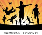 boys playing in the sun | Shutterstock .eps vector #114904714
