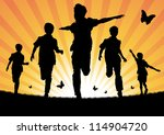 boys running in the sun | Shutterstock .eps vector #114904720