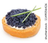 Small photo of Sandwiches with caviar isolated on white background.