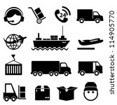 shipping and cargo icon set in... | Shutterstock .eps vector #114905770