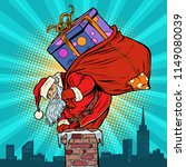 santa claus with bag of... | Shutterstock .eps vector #1149080039