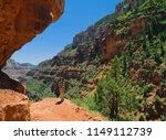 young woman hiker. beautiful... | Shutterstock . vector #1149112739