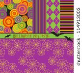 halloween patterns   5 seamless ... | Shutterstock .eps vector #114913003