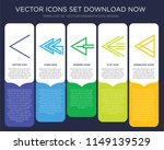 5 vector icons such as left...