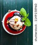 fruit dessert with ice cream...   Shutterstock . vector #1149158960