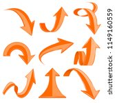 orange 3d arrows. bent and... | Shutterstock .eps vector #1149160559