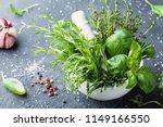 fresh green garden herbs in...   Shutterstock . vector #1149166550