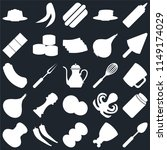 set of 25 icons such as spoon ...