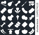 set of 25 icons such as sausage ...