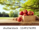 red apples in wooden box on... | Shutterstock . vector #1149176390