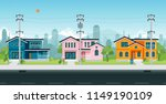 urban houses with electric... | Shutterstock .eps vector #1149190109