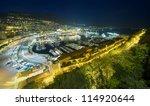 Monte Carlo port, Monaco. night scene, wide view - stock photo