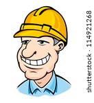 smiling builder man in helmet.... | Shutterstock .eps vector #114921268