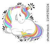 cute white unicorn with rainbow ... | Shutterstock .eps vector #1149250226
