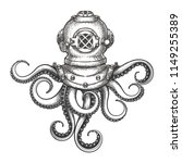 diver helmet with octopus... | Shutterstock .eps vector #1149255389