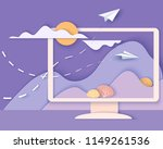 computer screen with landscape. ... | Shutterstock .eps vector #1149261536