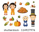 Illustrated Set Of Thanksgiving ...