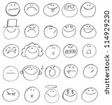 Emoticon Doodles Set. Vector...
