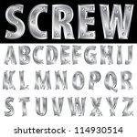 metal alphabet with screws | Shutterstock .eps vector #114930514