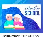 back to school. children read a ... | Shutterstock .eps vector #1149311729